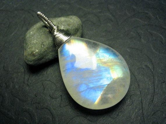 Big Colorful Rainbow Moonstone Sterling Silver Wirewrap Gemstone Pendant