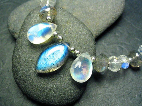 Bright Labradorite and Rainbow Moonstone Gemstone Sterling Silver Necklace