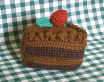 Chocolate cake slice with a little strawberry crochet pattern pdf