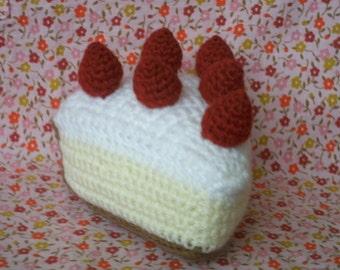 Chunky slice of Strawberry Sponge Cake crochet pattern pdf
