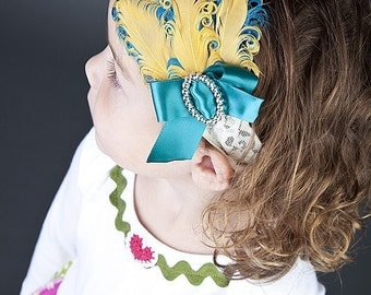 Decades 1920s The Charleston Feather Headband Gold and Turquoise
