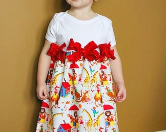 A Day at the Zoo Custom Dress Size Newborn to 4T Retro