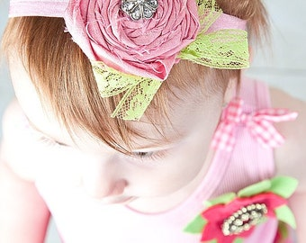 Headband Pink Silk Decades 1940s The Sorbet Swing Infant Photography