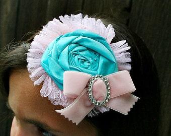 Decades Shabby Tattered Aqua Rose Headband Velvet Pink