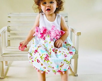 Shabby Birdcage Dress Size Newborn to 4T Custom Roses Summer