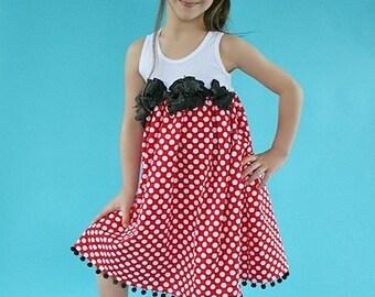 Minnie Vacation Dot Custom Size Newborn to 4T Custom Dress