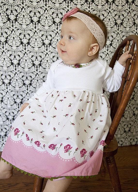 Shabby Rose Garden Custom Dress Newborn to 4T Border