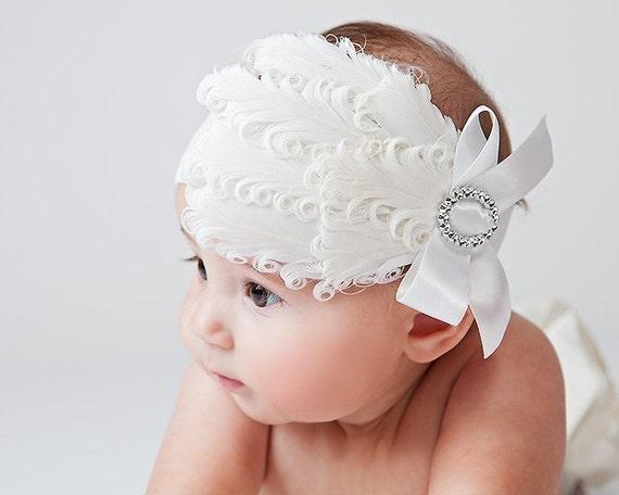 Headband Feather Photo Prop Infant Snow White Glitz Decades 1930s The Harlow