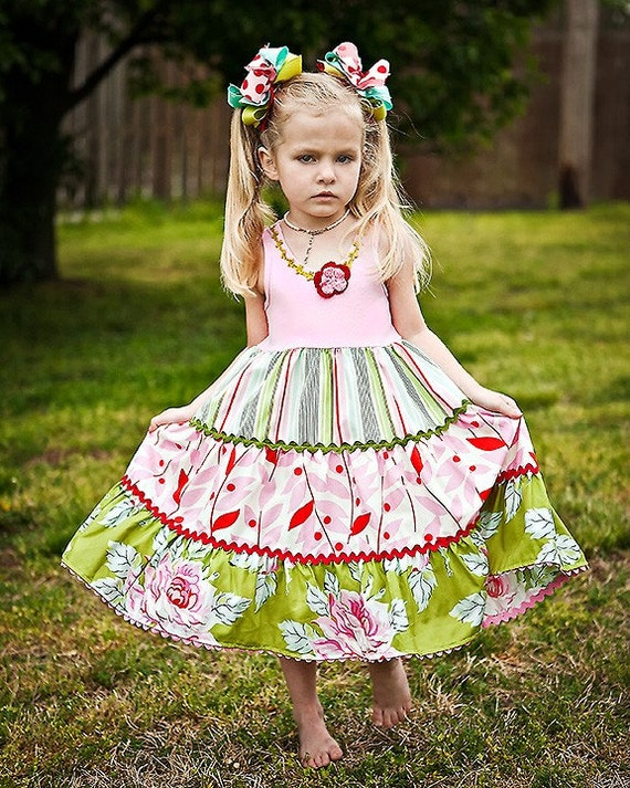 Retro Summer Romance Custom Dress Girls Size  4 to 10