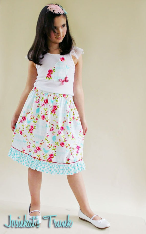 Shabby Birdcage Skirt Set Custom 4/5 6/6X 7/8 10/12 Roses and Aqua