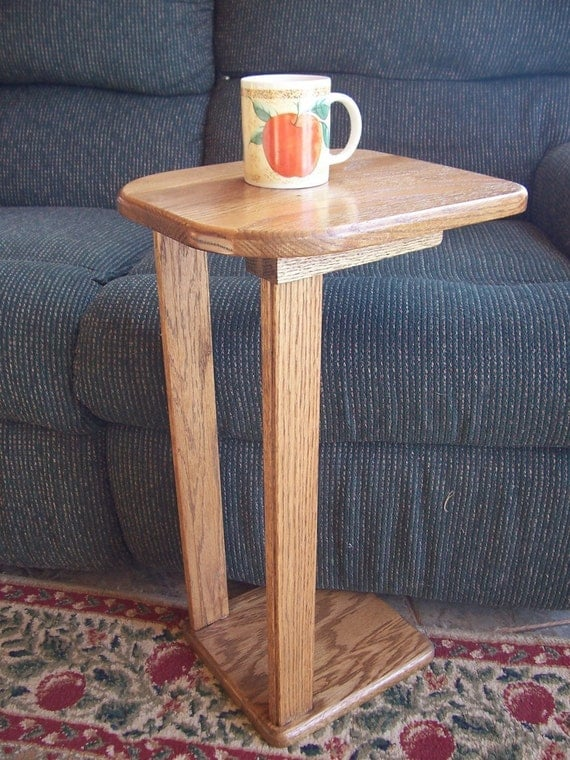New Solid Oak Wood Snack Sofa Accent Table