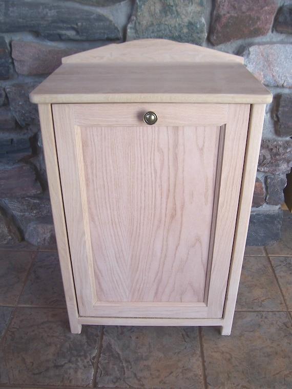 Unfinished Oak Wood Trash Bin Cabinet Tilt Out Door By