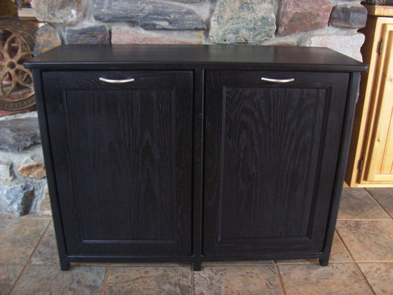 Bail Pulls For Furniture New Black Painted Wood Double Trash Bin Cabinet Garbage Can Tilt Out ...