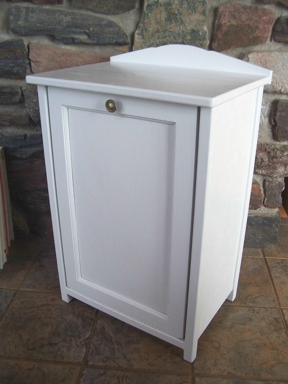 New White Wood Trash Bin Cabinet Tilt Door Garbage Can