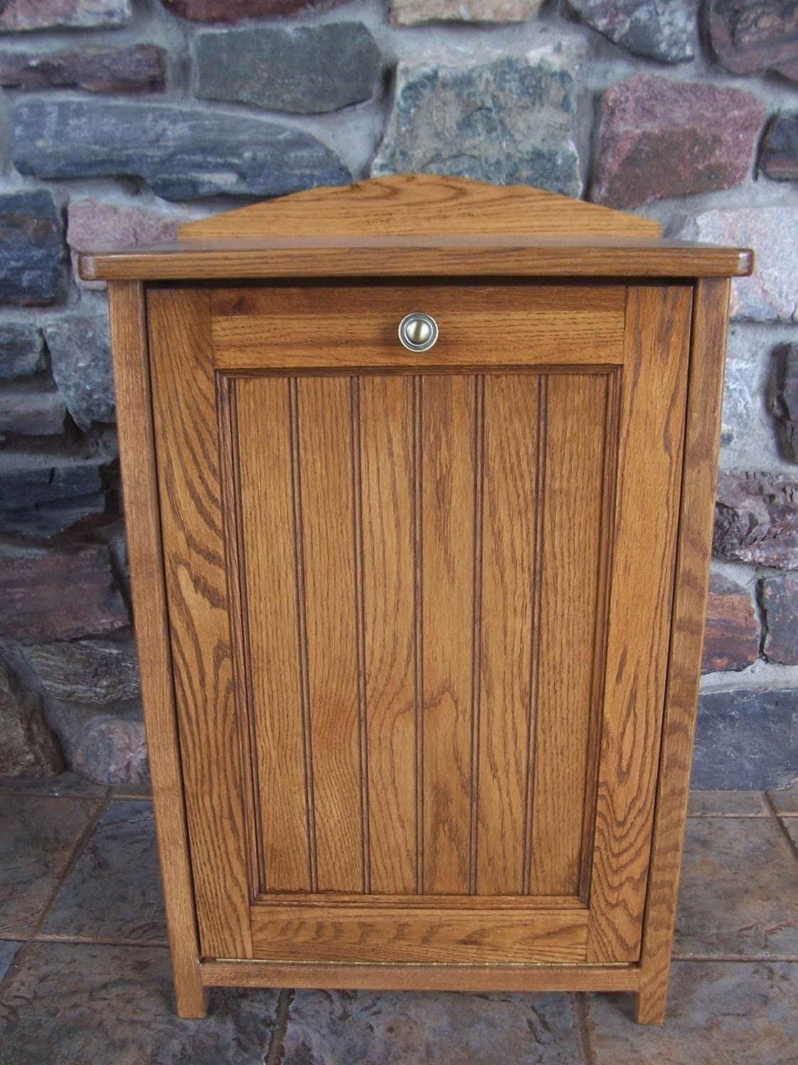New Oak Wood Kitchen Trash Bin Tilt Out Door