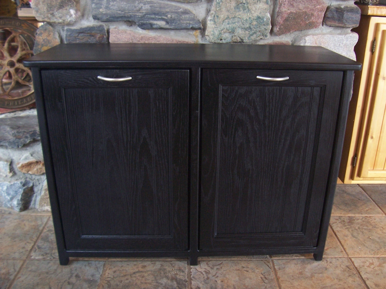 new black painted wood double trash bin cabinet by woodupnorth. Black Bedroom Furniture Sets. Home Design Ideas