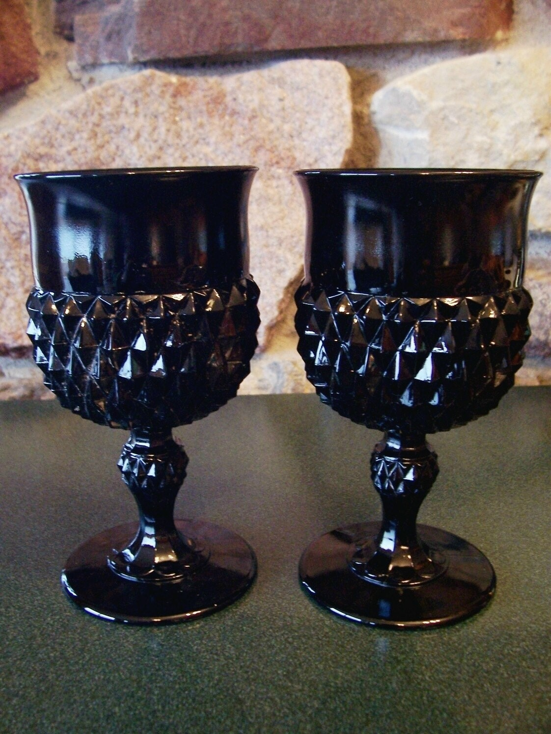 Pair Of Vintage Hobnail Black Glass Goblets Or Wine Glasses