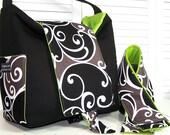 DSLR camera bag Large Hobo Padded Womens Dslr Camera Case Purse Mudsurf Black brown lime interior Includes camera strap cover