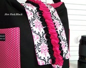 DSLR camera bag Hobo padded womens camera case Med size Candy Damask pink -black w/ ruffles pink interior  SNUGGLENS
