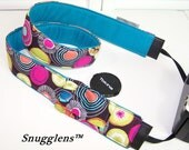 camera strap padded fashionista-cyan blue- WITH lens cap pocket-Ready to Ship-New