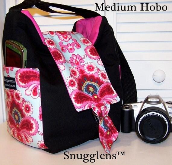 CUSTOM Digital SLR HOBO Camera Bag..Medium..Amy Butler duck egg/hot pink interior Snugglens