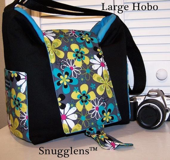CUSTOM Cute Digital SLR HOBO camera bag LARGE groovey daisy cyan interior SNUGGLENS