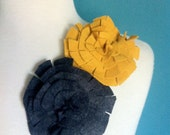Grey and Yellow Felt Flower Pins by THE KNIT OWL