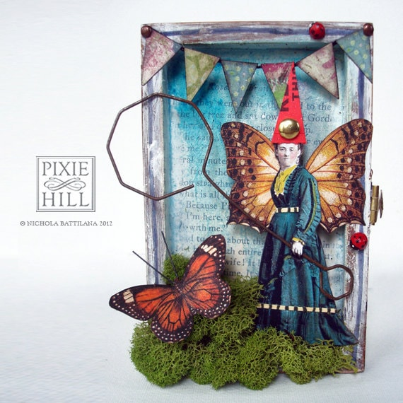 The Catcher - A Whimsical Original Mixed Media Altered Art Fairy