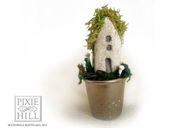 A Fairy Cottage - Moss & Mushroom goodness in a thimble.