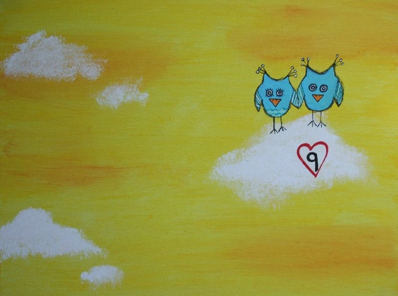 Original OWL Painting on 9 x 12 inch canvas board CLOUD 9  Anniversary Valentines day Christmas Nursery art home decor