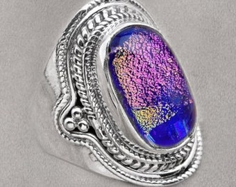 Sale: Purple and Blue Dichroic Glass Ring Size 7