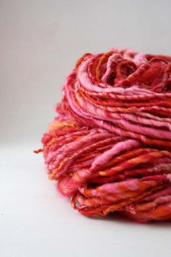 Strawberry Patch Hand Dyed Handspun Yarn