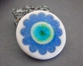 Handmade Porcelain Pendant - Scallop Design with Crackled Glaze