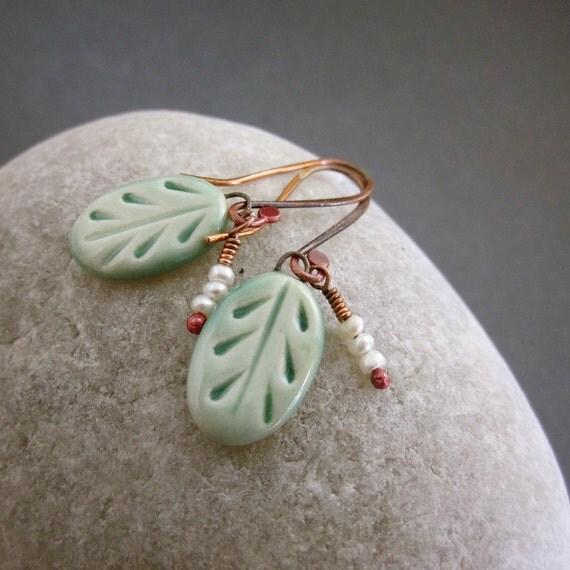 Handmade Porcelain Leaf Earrings