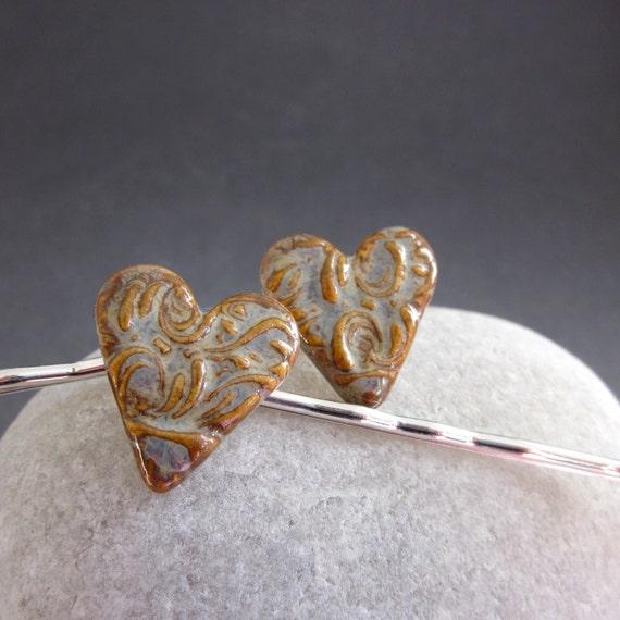 Handmade Porcelain Heart Bobby Pin Set