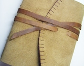 HOLD FOR CLAIRE-Suede Leather Journal with Pockets Inside