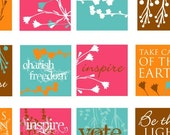 1 inch Square Collage Sheet Images, Natural and Bright