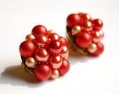 Vintage Red Faux Pearl Earrings