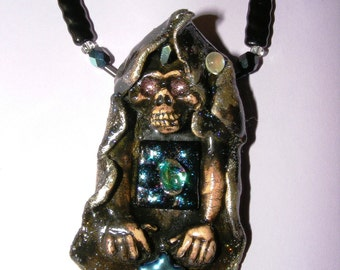 FairyGlass Gothic Ceramic Demon Oracle Pendant