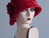 Remade Vintage Lacy Red Cloche Hat