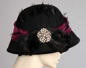 Black Felt Slouch Brim Cloche Hat  With Mink, Feathers,& Quality Vintage Jewel Finding - On Sale