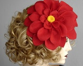 Felt Flower Fascinator In True Red