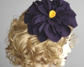 Deep Purple Felt Flower Fascinator