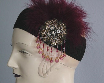 Gatsby Flapper Headband With Scarlet Feathers And Beads