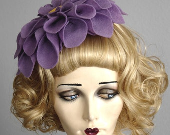 Large Soft Lavender Felt Flower Fascinator