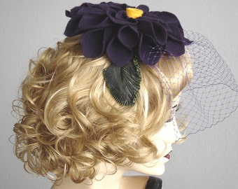 Deep Purple Aubergine Felt  Flower Fascinator Headband With Veil