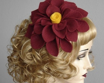 Brick Red Rust Felt Flower Fascinator