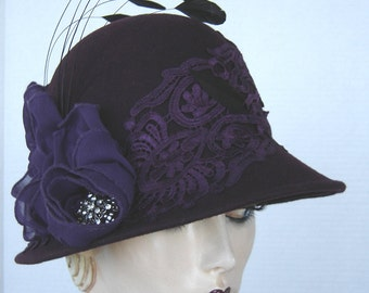 Purple Lovers Wool Felt Cloche On Sale