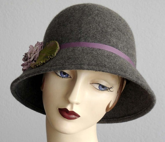 Gray Wool Felt Slouched Brim Cloche Hat
