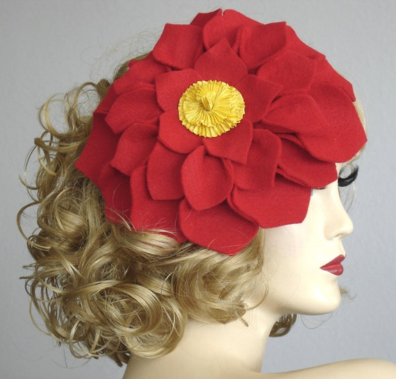 Lipstick Red Flower Fascinator With Yellow Pleated Ribbon Center